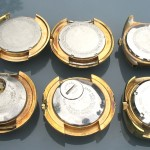 Gold plated cased Gruens with PUW movements; front view.
