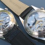 Hamilton Clearview, white and black dial varieties together. Fine regulator on left watch is not correct, Cal. 505, 1965