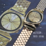 Period advert showing Hamilton Meteor prices with gold band or leather strap.