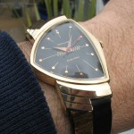 Hamilton Ventura with Red Second hand and original 24K gold applique two tone strap ; Calibre 500; 14K Gold case; 1957.