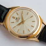 LIP Electronic; Cal. R27; Solid Rose Gold; Opens Through Crystal; 38mm diameter; 1958