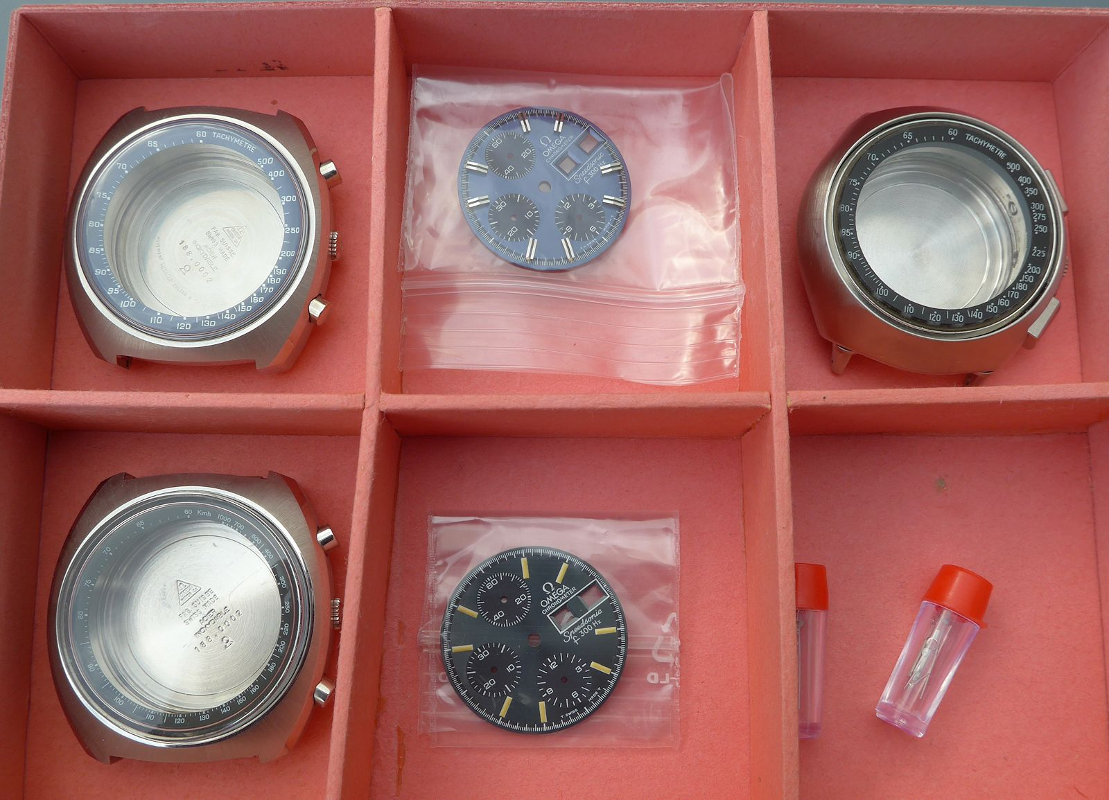 Omega f300 Speedsonic NOS Steel 188.0001 and 188.0002 Cases and Dials