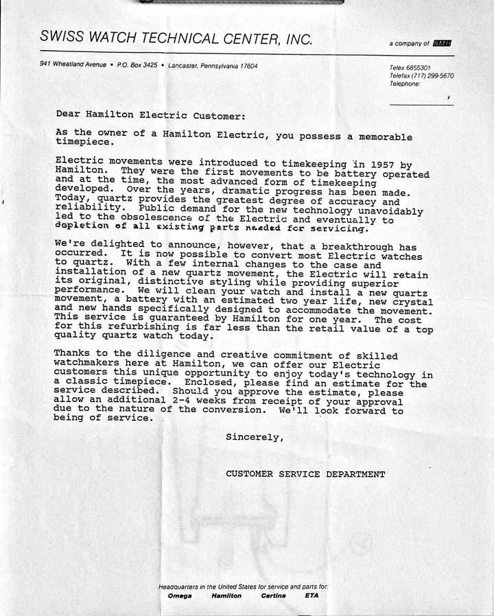 Quartz Conversion Letter