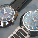 Timex Electronic Model 65 Time Zone (left). 1974 (7975006574) alongside a Model 87 based watch (right).